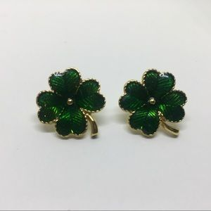 Avon Jewelry - St. Patrick's Day four leaf clover stud earrings